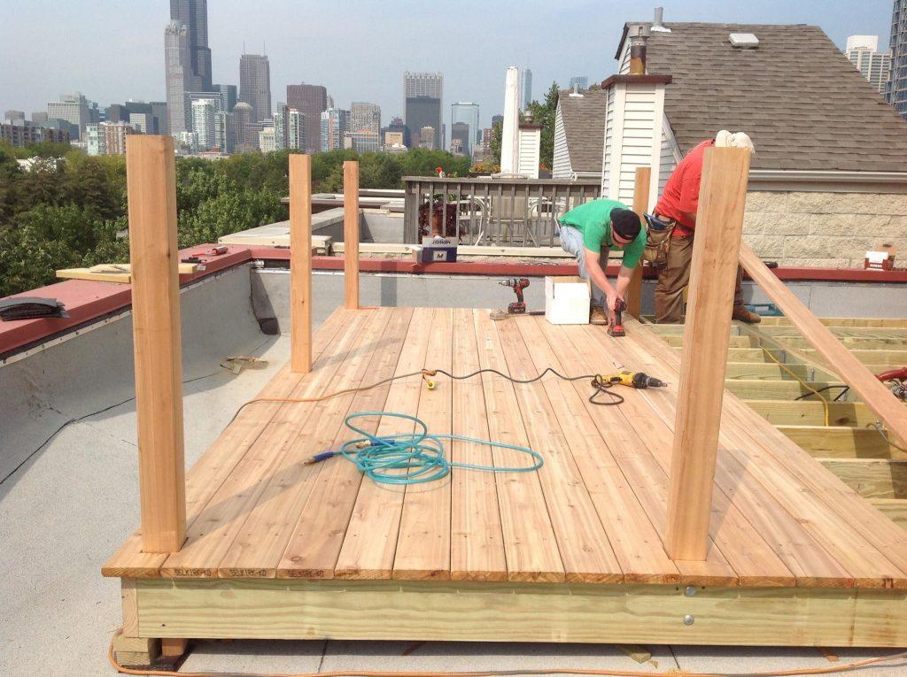 wooden rooftop deck under construction