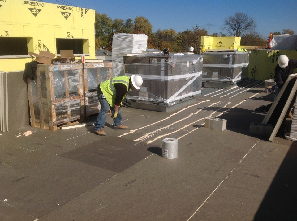 wide view, commercial roof adhesive