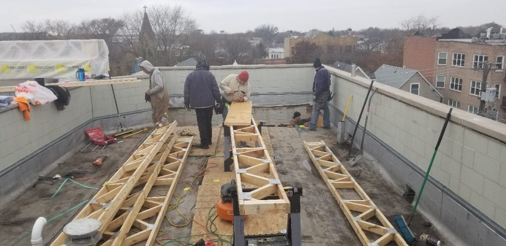 preparing roof framing for a commercial replacement