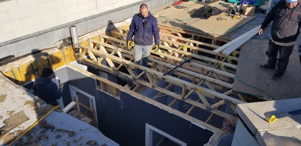 placing new framing prior to roof replacement