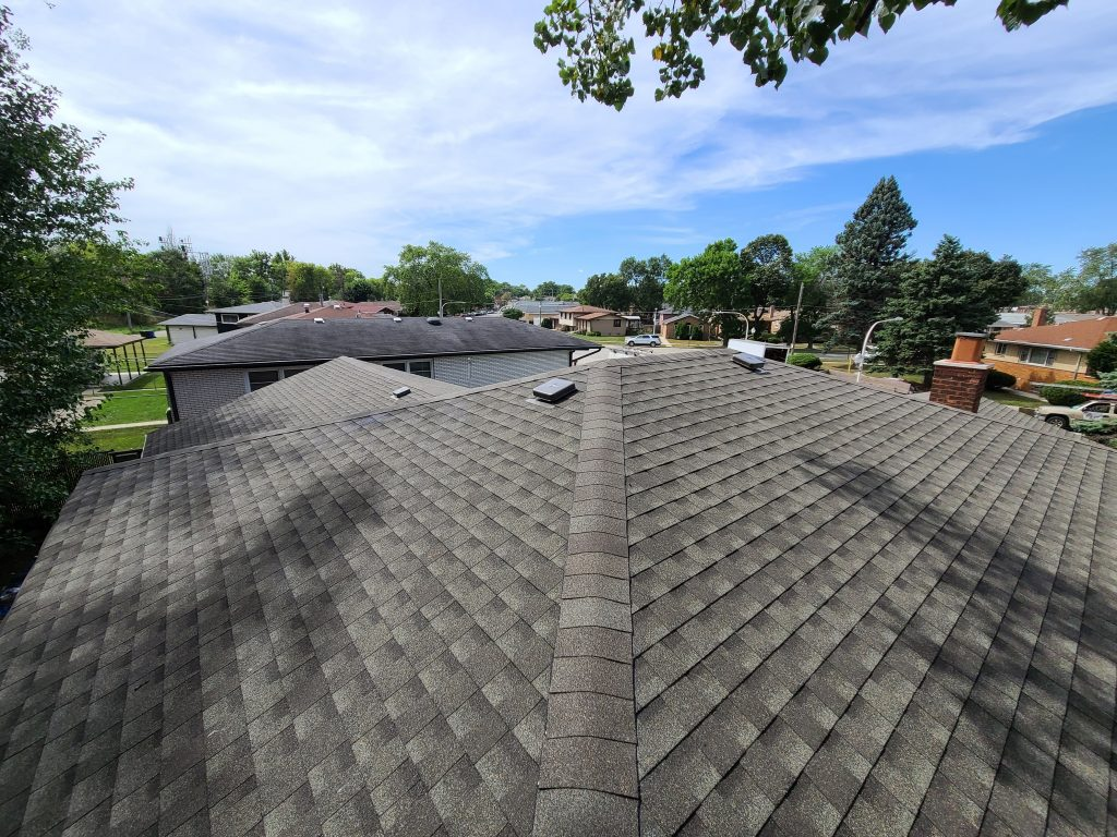 new shingle roof viewed from angled edge