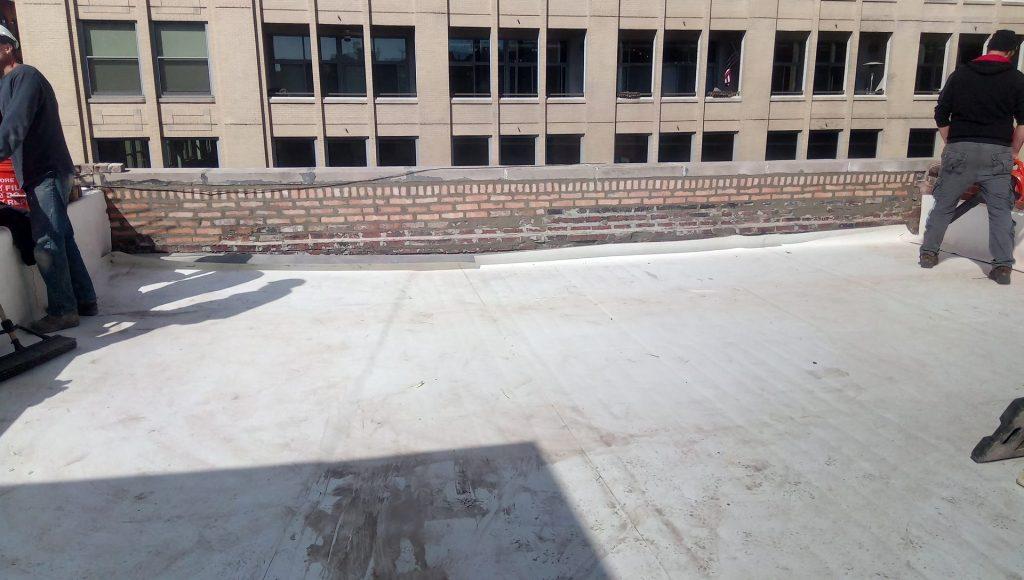 pointed brick parapet prior to flashing
