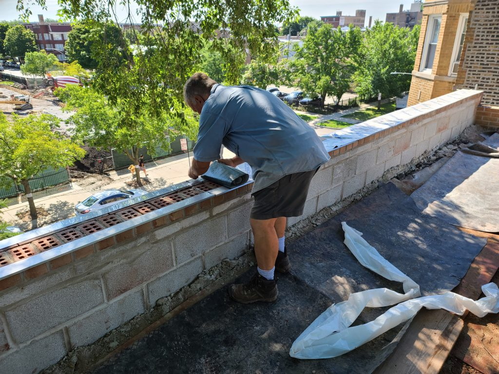 installation of membrane over wythe