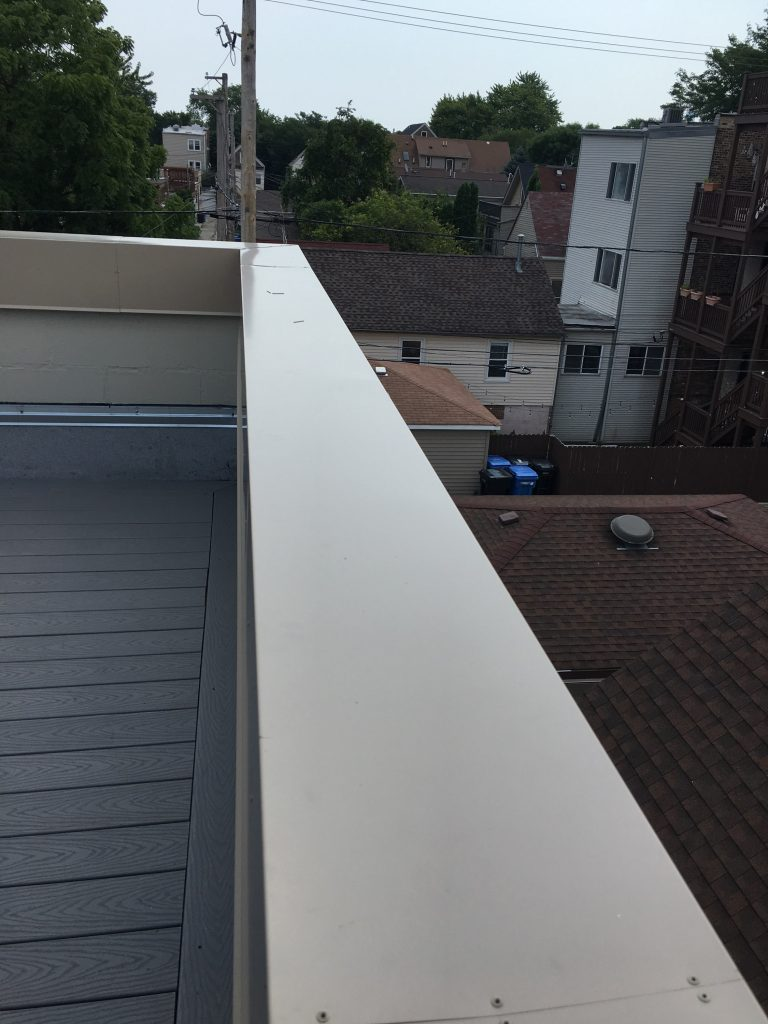 completed metal coping, seam visible in lower left of image